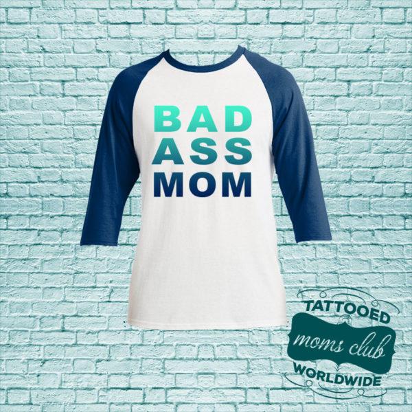 Bad Ass Mom Baseball T-Shirt - Navy